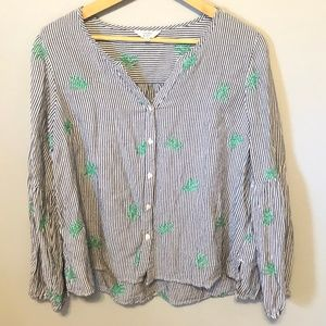 Crown and Ivy Striped Long Sleeve Top Sz L